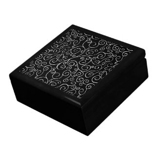 White Scrolling Curves on Black Jewelry Box