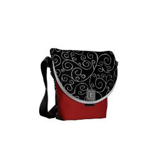 White Scrolling Curves on Black Messenger Bag