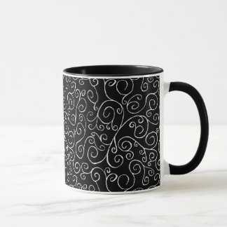 White Scrolling Curves on Black Mug