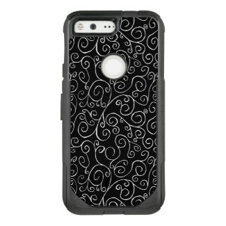 White Scrolling Curves on Black OtterBox Commuter Google Pixel Case