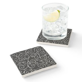 White Scrolling Curves on Black Stone Coaster