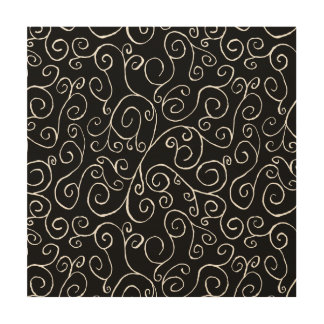 White Scrolling Curves on Black Wood Wall Decor