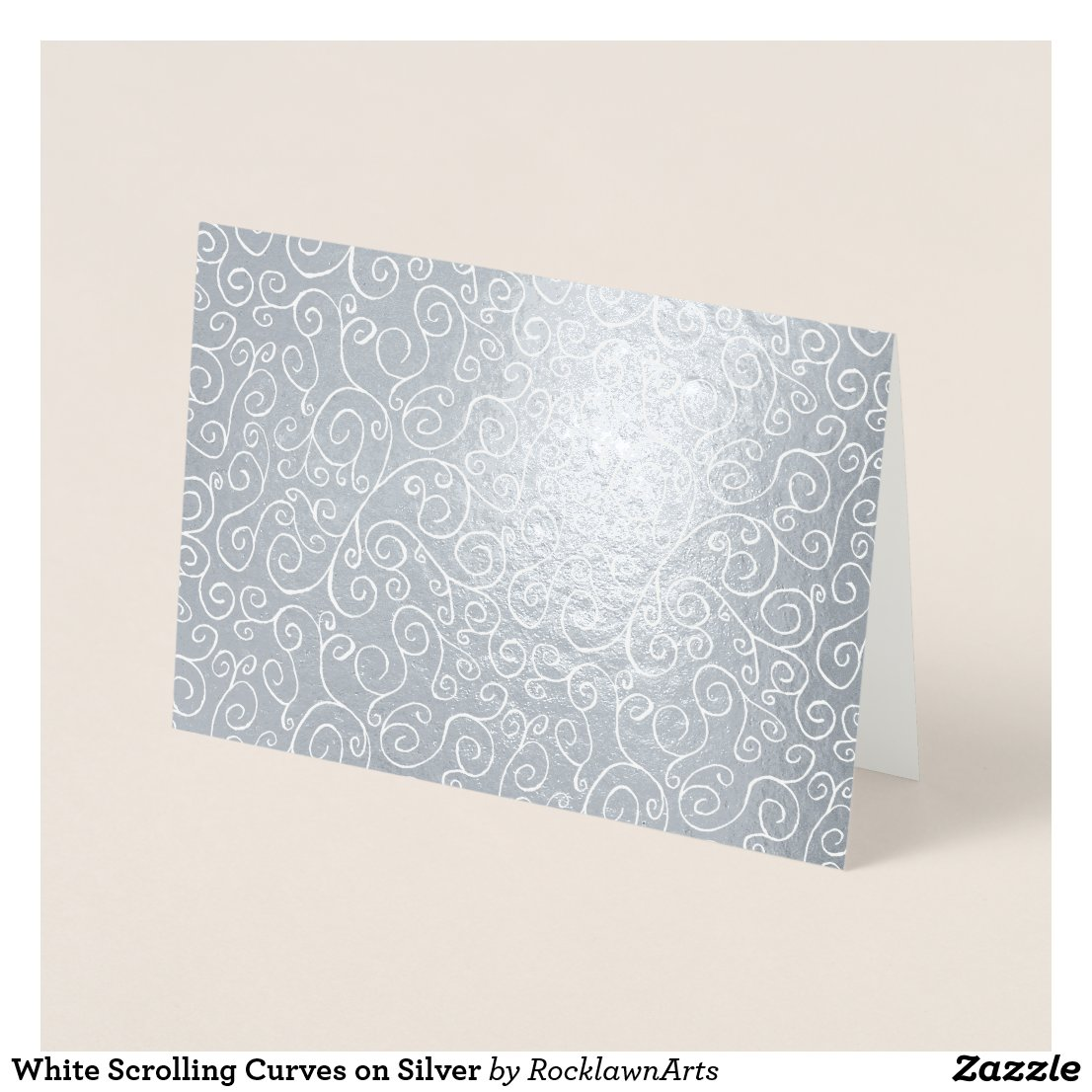 White Scrolling Curves on Silver Foil Card