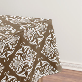 White Scrolls On Chocolate Brown Tablecloth