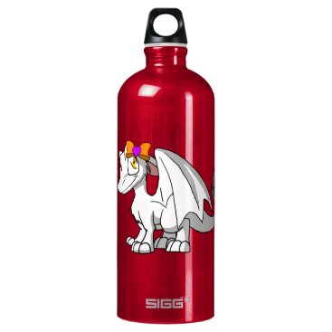 Halloween Themed White SD Furry Dragon w/ Halloween Heart Hairbow Aluminum Water Bottle
