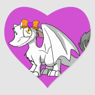White SD Furry Dragon w/ Halloween Heart Hairbow Heart Sticker