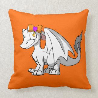 White SD Furry Dragon w/ Halloween Heart Hairbow Pillow