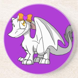 White SD Furry Dragon w/ Halloween Heart Hairbow Sandstone Coaster