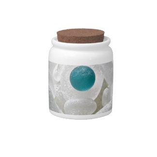 White Sea Glass Flower Candy Jars