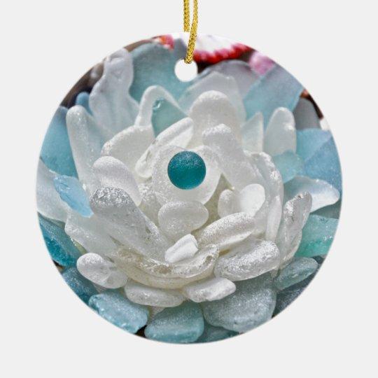 White Sea Glass Flower Ceramic Ornament