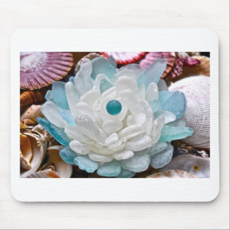 White Sea Glass Flower Mouse Pad