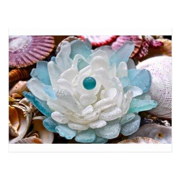 LHSeaglass White Sea Glass Flower Postcard