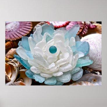 LHSeaglass White Sea Glass Flower Poster