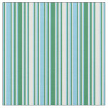[ Thumbnail: White, Sea Green, and Sky Blue Colored Lines Fabric ]