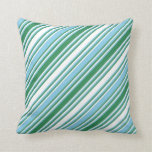 [ Thumbnail: White, Sea Green, and Sky Blue Colored Lines Throw Pillow ]
