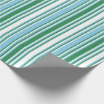 [ Thumbnail: White, Sea Green, and Sky Blue Colored Lines Wrapping Paper ]