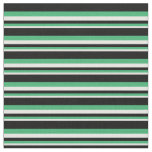 [ Thumbnail: White, Sea Green & Black Colored Pattern Fabric ]