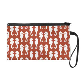 White Sea Horses on Chinese Red Wristlet Purse