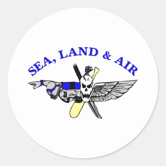 White Sea Land Air Classic Round Sticker