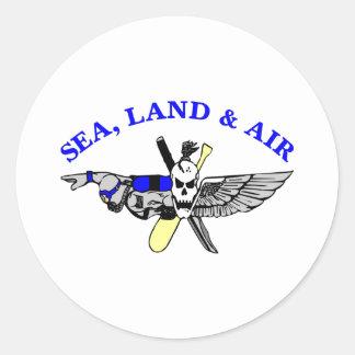 White Sea Land Air Round Sticker