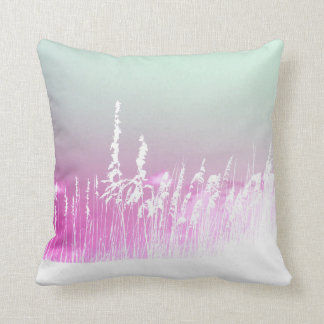 white sea oats pink yellow sky Florida beach image Throw Pillows