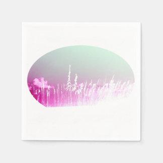 white sea oats pink yellow sky Florida beach image Disposable Napkins