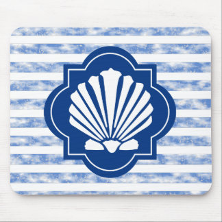 White Sea Shell On Navy Blue Stripes Mouse Pad