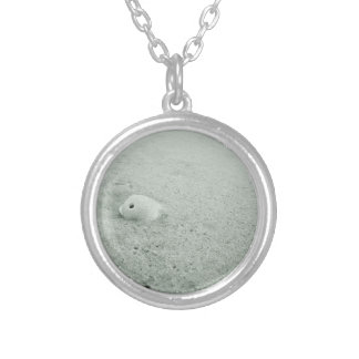 White Sea Shell On Sandy Beach Silver Plated Necklace