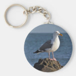 White seagull and ocean keychain