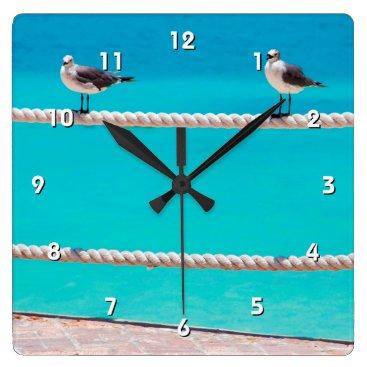 Beach Themed White seagull birds & blue ocean photo wall clock