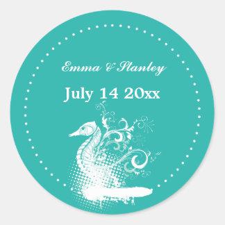 White seahorse light sea green summer wedding classic round sticker