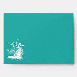 White seahorse light sea green summer wedding envelope