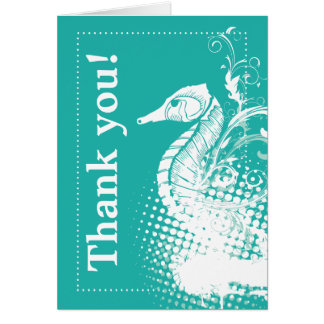 White seahorse light sea green wedding Thank You Stationery Note Card