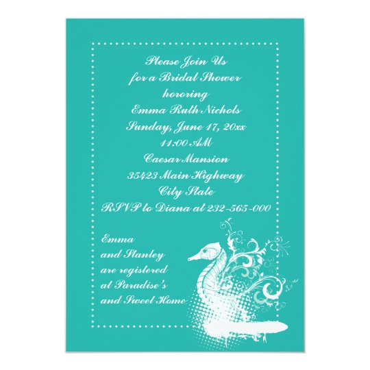 White seahorse lightseagreen wedding bridal shower card