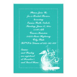 White seahorse lightseagreen wedding bridal shower 5x7 paper invitation card