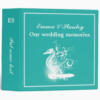 White seahorse on light sea green wedding binder