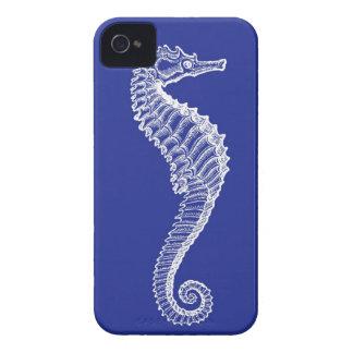 White Seahorse on Navy iPhone Case