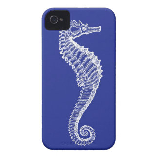 White Seahorse on Navy iPhone Case iPhone 4 Covers