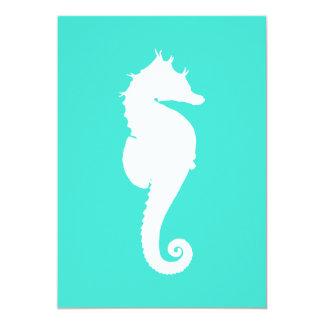 White Seahorse on Turquoise Custom Invitations