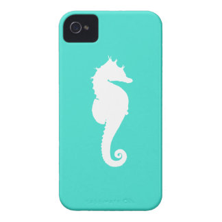 White Seahorse on Turquoise iPhone 4 Case-Mate Case