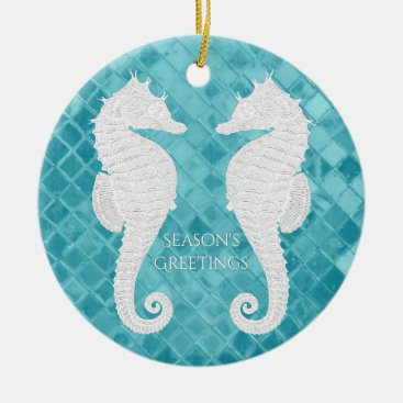 WRAPPED_TOO_TIGHT White Seahorses Aqua Sea Glass Personalize Ceramic Ornament