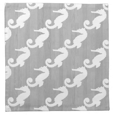 Beach Themed White Seahorses Driftwood Planks Napkin