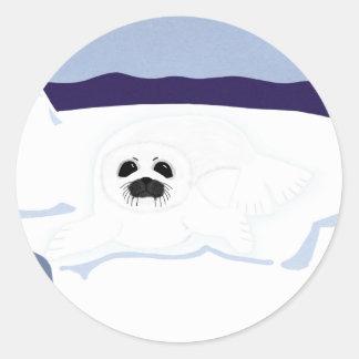 White Seal Pup on Iceberg Cartoon Art Sticker