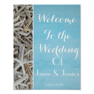 White seashell beach wedding welcome poster