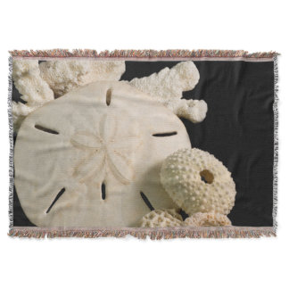 White Seashells And Sand Dollar Throw Blanket