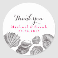 White Seashells Beach Wedding Thank You Sticker