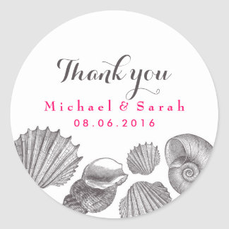 White Seashells Beach Wedding Thank You Sticker