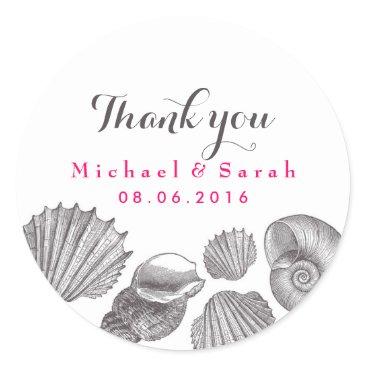Beach Themed White Seashells Beach Wedding Thank You Sticker