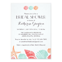 White Seashells Invitation for Beach Wedding
