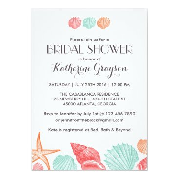Beach Themed White Seashells Invitation for Beach Wedding